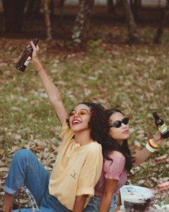 Wine tasting among friends on a ladies weekend breakaway